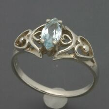 Sterling Silver 8x4mm Marquise-Cut Blue Topaz Ring Openwork Heart Design Sz 6.25