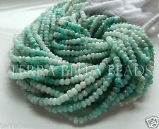 "13"" shaded RUSSIAN AMAZONITE faceted gem stone rondelle beads 3.5mm - 4mm aqua"