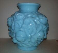 "Imperial Glass Marked 6"" H Victorian Rose Blue Milk Glass"