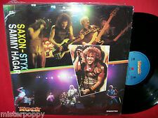 SAXON + STYX + SAMMY HAGAR Promo only split LP ITALY 1990 MINT Unique Art Cover