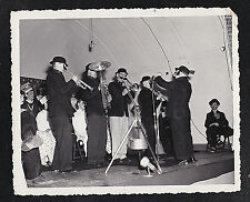 Antique Photograph Cool Band on Stage - Musical Instruments - Fake Moustaches