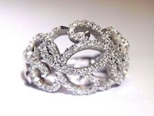 .90CTW Swirling Diamond Encrusted 14K White Gold Domed Openwork Ring Size 6