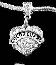 Color guard charm fits European bracelet and necklace crystal heart style gift