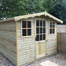 8x8 Apex Garden Forest Shed Summerhouse Tanalised Cladding Fully T&G 16mm Boards