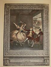 """Erotik-Französische Farbradierung""""Le petite Loge""""-Anonymus-um 1910-35,5x25 cm"""