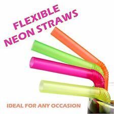 200 Flessibile BERE Monouso Plastica cannucce cocktail Party Neon Colori Bendy