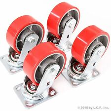 "4 Red Wheel Caster Set 5"" Wheels All Swivel  Heavy Duty Iron Hub No Mark Casters"