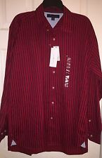 Men's Tommy Hilfiger 100% Cotton Red and Black Striped Long Sleeve Shirt~MED~NWT