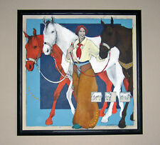NOW REDUCED! LARGE ORIGINAL PAINTING of HORSES & COWGIRL by DONNA HOWELL-SICKLES