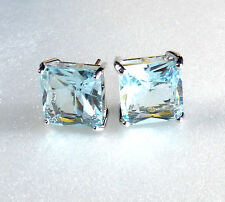 Men White Gold Plated 11mm Aqua Simulated Diamond Crystal Square Stud Earrings