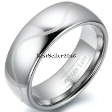 8mm / 6mm High Polish Dome Laser Engraved Tungsten Carbide Rings Aniversary Band