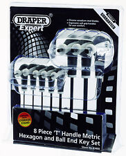 Draper 83400 2-10mm 8pc Soft Grip T manico Allen Key Rack Set Hex & Ball End