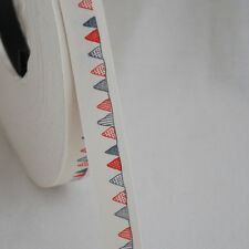 Cotton Fabric Ribbon Trim - Blue Red Bunting Flags