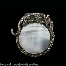Sterling Silver Pin with Cougar on Top of Mother of Pearl Circle with Marcasite