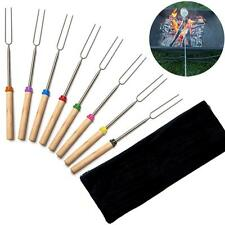8Pcs BBQ Skewers Forks Telescopic Stainless Steel Sticks Barbecue Wooden Handle