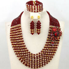 Burgundy Gold Crystal Beads Nigerian Wedding African Bridal Lace Jewelry Sets