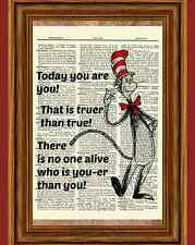 Dr. Seuss Dictionary Art Print Picture Poster Youer you quote Cat in the Hat