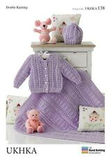 Double Knitting Pattern Cardigan Hat Blanket Wool Premature To 12 Months 31-51cm