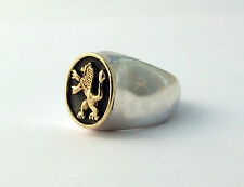 New 925 Sterling Silver And 9K Gold Judaica Jewelry Lion Of Judah Ring Size 10