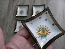 Four Small Plates MCM Atomic Starburst Gold & Turquoise Glass Trinket Dishes