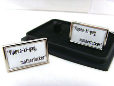 "DIE HARD JOHN McCLANE QUOTE ""YIPEE-KI-YAY"" BADGE MENS CUFFLINKS GIFT"