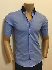 Ermenegildo Z ZEGNA Blue Tapered Fit Contrast Pique Cotton Shirt S RRP: £195.00