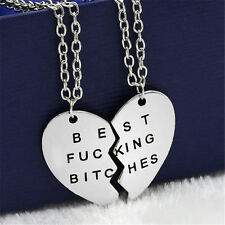 New Best Bitches Friend Forever 2Piece Break Heart Pendant Necklace Jewelry Gift