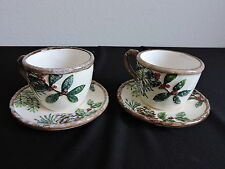 Yankee Candle Tea Cup & Saucer Set 2 Tealight Holders Holly Christmas Winter