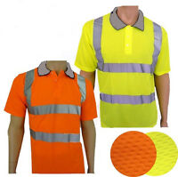 Hi-Viz Vis Visibility Polo Shirt Yellow Orange T Shirt M L XL XXL 3XL EN471