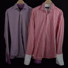 Lot of 2 Ted Baker London Archive Mens French Cuff Plaid Button Shirts Size 15.5