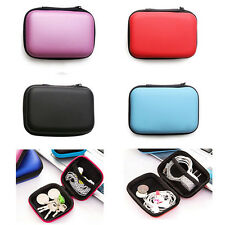 Portable Earphone Earbuds Storage Bag Case Card Holder Travel Square Zip Box