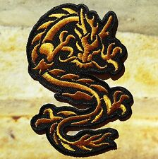 Ecusson Patch brodé thermocollant dragon chinois noir et or