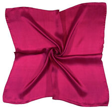Deep Raspberry Pink Small Pure Silk Square Scarf - New (M5)