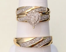 Yellow Gold Men Women His Her Diamond Heart Shape Bridal Wedding Trio Ring set
