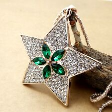 Fashion gold Five-pointed star pendant Crystal Necklace Sweater chain HH167