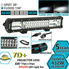 7D+ TRI ROW 16''INCH 432W PHILIPS LED LIGHT BAR SPOT FLOOD COMBO OFFROAD DRIVING