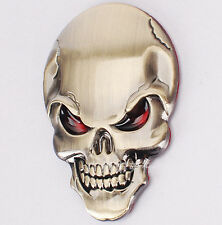 GOLD Devil Demon Skull Skeleton Mask 3D Car Sticker Badge Decal Emblem UK