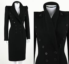 ALEXANDER MCQUEEN BLACK WOOL DOUBLE BREASTED TAILORED MILITARY COAT SZ 38 11A