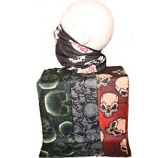 Multi Pack of 4 Mens Tube Snood Scarf Skulls Biker Face Mask Black Red White NEW
