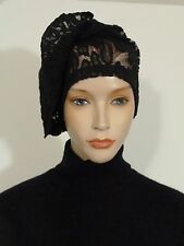 Fearlessly stylish lagenlook black leopard lace vintage 1920 style cocktail hat
