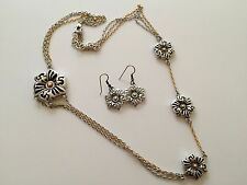 "Brighton Silver & Gold Tone Flower 26-28"" Long Necklace and Dangle Earring Set"