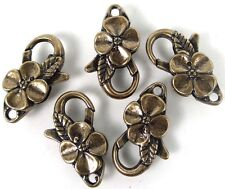 25x14mm Large Antique Bronze Pewter Flower Lobster Claw Clasps (5) ~ Lead-Free