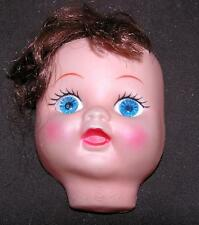 VTG CLOTH DOLL MAKING SUPPLIES, VINYL MASK FACE, ROOTED BROWN BANGS, BLUE EYES