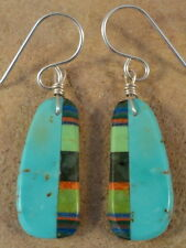 Small Ronald Chavez Kewa Turquoise Agate & Apple Coral Earrings