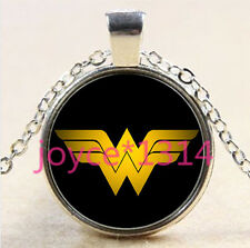 Wonder Woman Cabochon Tibetan silver Glass Chain Pendant Necklace&XP-2711