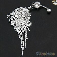 WHITE GOLD Plated AUSTRIAN  CRYSTAL  BELLY BAR