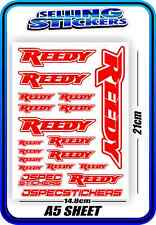 REEDY RC STICKERS DRIFT TOURING MOTOR ESC BATTERY 1/12 1/10 RACE RED WHITE AE