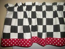Black White Checks Chef Coca Cola kitchen Red Polka Dot Retro curtain Valance