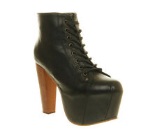 Womens Jeffrey Campbell  Black Leather Ankle Boot Size UK 4 * Ex Display
