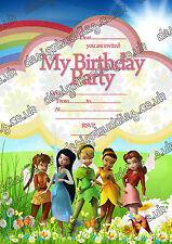 Disney Fairies,Tinker bell Birthday Party Invitations,Girls party  X 10 CARDS